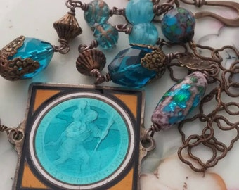 SAINT CHRISTOPHER antique French enamel medal vintage assemblage necklace
