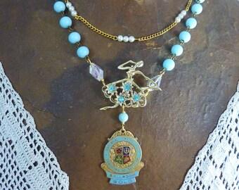 BALLROOM DANCE MEDAL antique vintage assemblage necklace