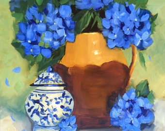 Original painting: Still Life of  Blue Hydrangeas in Tuscan Urn with Blue and White Ginger Jar