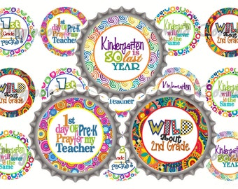 "1"" Back To School Fall Bottle Cap Image Sheets  - First Day Of School - Grades Stickers Printables Instant Download."