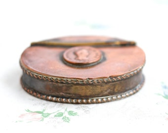 Antique Georgian Snuff Box - Oval Case in Copper and Silver Plate - George III Penny - 1806