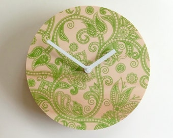 Objectify Green Linear Flora Wall Clock
