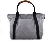 Winter Sale 15%off HOLLY // Dark Grey with Black Handle / Lined with Grey Stripes / 081 // Ship in 3 days // Diaper bag / Shoulder bag / Tot