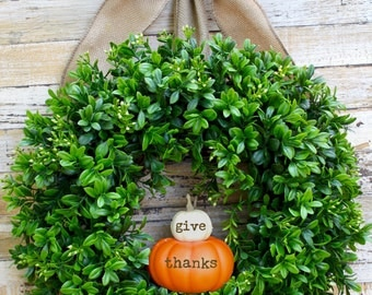 Thanksgiving Decor - Thanksgiving Wreath - Boxwood Wreath - Pumpkin Wreath -  Choose Bow