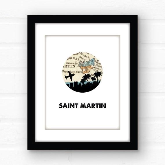 St Martin Tropical Decor St Maarten City Skyline Print