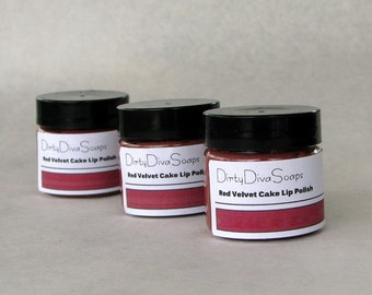 Sale Soothing 2 in 1 Lip scrub and Balm in Red Velvet Cake , Lip Polish , Exfoliating Lip Treatment with JoJoba