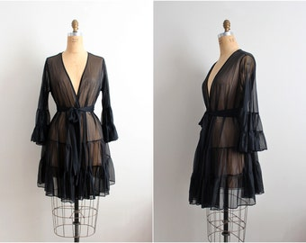 90s Betsey Johnson Robe / Black Vintage Lingerie / 1990s Lingerie/ Ruffle Robe/ Wedding Nightgown / One size