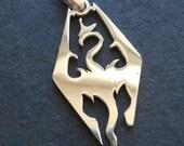 "Skyrim inspired 2"" Plished stainless steel Dragon Charm pendants-silver dragon Charm PENDANT"