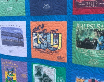 T-Shirt Quilt DEPOSIT,  20 Shirts Traditional Block TShirt Quilt, Tee Shirt Quilt,  (DEPOSIT), Custom Quilt, Personalized Quilt