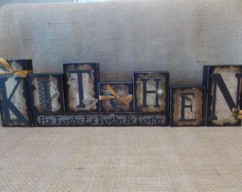 KITCHEN Word Block Sign