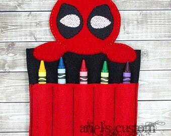 Deadpool Crayon Holder - Crayon Keeper - Travel Coloring
