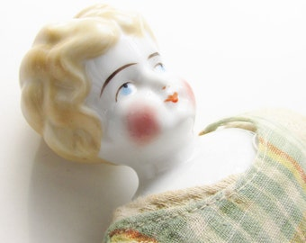 Antique Hertwig German China Doll Head Blond Low Brow 1900s 13 inch Doll