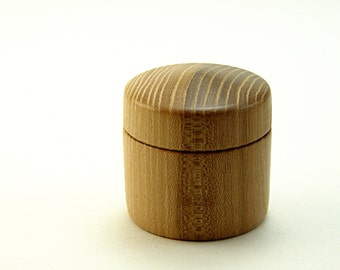 "Hand Turned Box in Salvaged Elm Wood: 2"" Diameter by 2"" Tall."