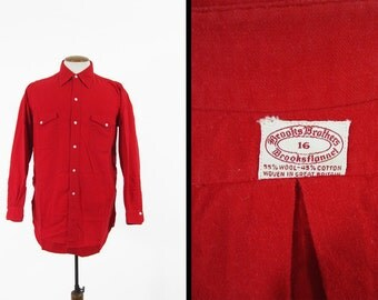 Vintage 60s Brooks Brothers Flannel Shirt Red Button Up Wool Blend Sanforized - Size 16
