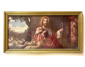 Vintage Litho Jesus At The Front Door Framed Picture