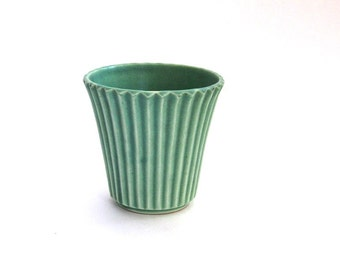 Vintage Pottery Vase Ribbed Turquoise Made in Japan 1940s