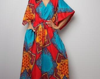 Maxi Dress / Kaftan Long Summer Gown / Boho African Print Maxi Dress : Bohemian Kaftan Collection No.1
