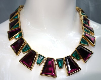 YSL Yves Saint Laurent Vintage Faux Ruby and Emerald Necklace France