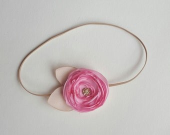 Gold, Pink and Beige Headband - Baby Girl - Newborn Photo Prop Adult - Toddler - Leaves - Petal Pink Flower - Dainty Small - Poppy - Barbie