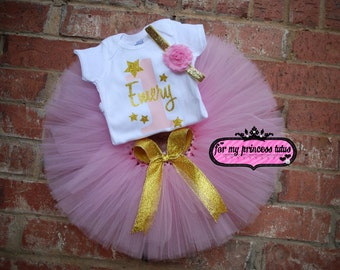Twinkle Twinkle Little Star 1st Birthday pink and gold outfit, 1st, pink and gold tutu, first birthday, pink and gold set, birthday tutu