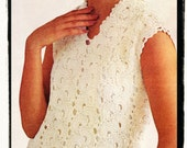 Instant Download PDF Sixties Crochet Pattern to make a Lace Evening Shift Sleeveless Wedding Dress One Size fits 32 to 34 inch Bust