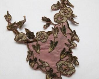 1 pc Antique Silk Chenille/Metallic Flower Applique Trim c