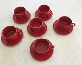 Vintage Holiday Red Ralph Lauren Glazed Stoneware Italy 6 cups & 6 saucers Rare