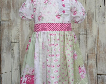 Summer sale..One of a kind  Twirl peasant dress Ready to ship Size 3T - 4T Roses, green, pink, summer, tea party,