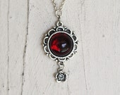 Red Necklace, Glass Necklace, Pendant, Jewelry, Hand Crafted, Michelle Meyer