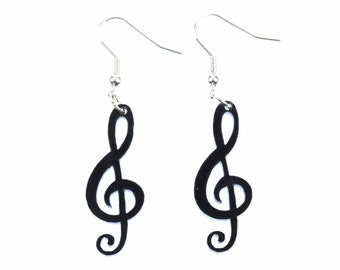 Treble clef earrings notes clef swz