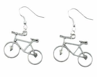 OR00046 Bicycle earrings bicycle bike bikes Miniblings earrings cycling silver heart