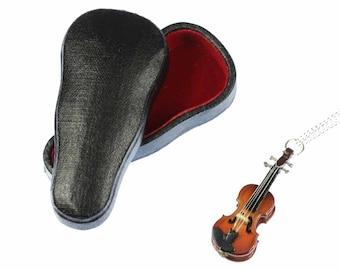 [BUNDLE] Fiddle violin chain necklace Miniblings violin violin wood 60 cm + box