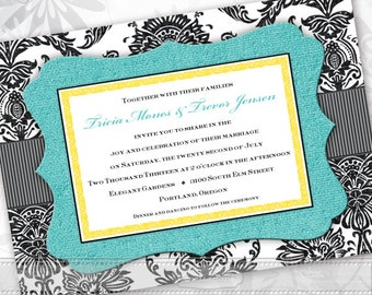Wedding Invitations Black And Turquoise Bridal Shower