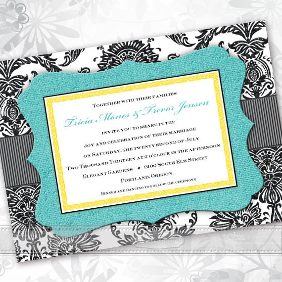 wedding invitations, black and turquoise bridal shower invitations, turquoise and black wedding, turquoise graduation invites, IN440