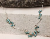 Delicate Turquoise Necklace/  Turquoise Necklace/ Bridal Necklace Layering Necklace/  Bohemian Necklace