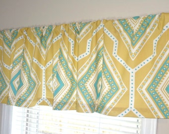 Curtain Valance Topper Window Valance 52x15 Saffron Yellow & Blue Geometric Valance