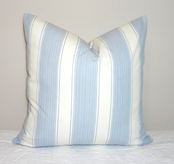 Decorative Blue White Stripe Pillow Cover Blue Amp White Striped