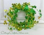 St. Patrick's Day Shamrock Holographic Garland, Grren, Gold, Wired - EIGHTEEN FEET - Darice, Wreath Embellishment, Party Decor, Craft Supply