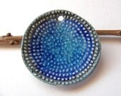 Blue Dot Spiral Pendant Stoneware Clay