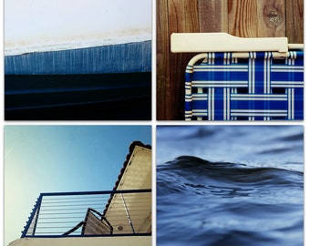 photography // art print set // indigo navy blue art // wall art print set // beach art - free ship - East Coast Summer
