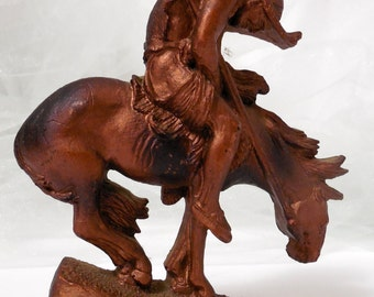 The End of the Trail by Victor Personette/Copperama, 1970s Copperama, RePurposing Copperama, Native American on Horseback Wood Sculpture