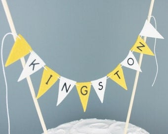 Personalized Name Cake Banner in Yellow and White, Custom Cake Bunting Topper for Christening, Birthdays, Baptisms, Bat or Bar Mitzvah Cakes