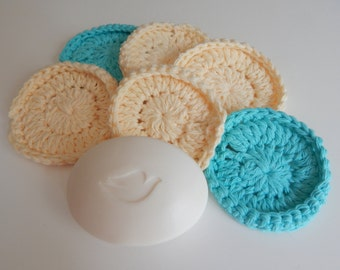 Spa Face Scrubbies - Crochet in Yellow and Aqua - Set of 6