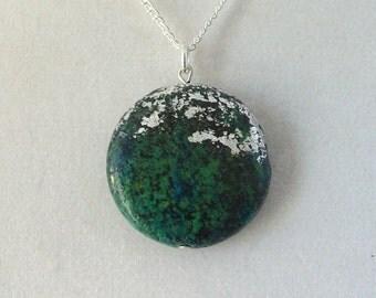 Silver Leaf Stone Pendant - Chrysocolla