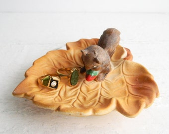 Vintage Ceramic Autumn Squirrel & Leaf Dish - Mid Century Kitsch - Made in Japan - Nursery Decor