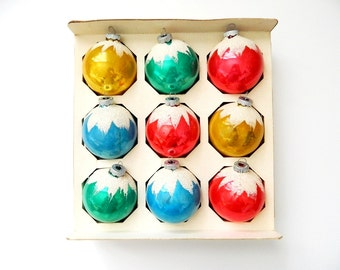 Box of 9 Vintage Shiny Brite Snow Cap Ornaments - Glass Christmas Decorations