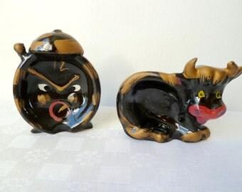 Vintage Rare 1950's Pottery Clock & Bull/Cow Novelty Ashtrays, Kitsch Pin Dishes, Decorative Ashtrays, Made in Japan Pottery, Gilt Ashtrays