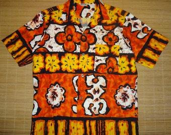 Mens Vintage 70s Hawaii Hawaiian Tiki Surf Shirt - M - The Hana Shirt Co
