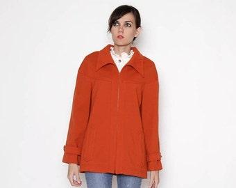 ON SALE Vintage 70s Orange Zip up Jacket / Coat