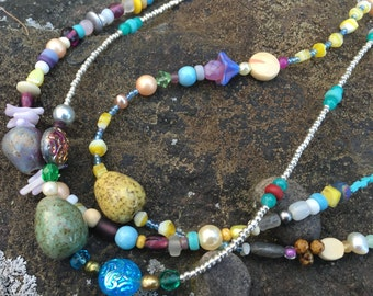 BOHO Ceramic EGG Necklace - Single Strand Beaded Necklace